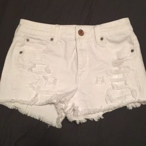 American eagle distressed white denim shorts